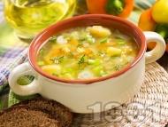 Зеленчукова супа с картофи, целина, ориз, пресен лук и карфиол